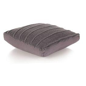 vidaXL Gulvpute kvadratisk strikket bomull 60x60 cm grå