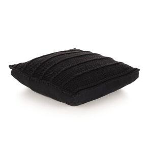 vidaXL Gulvpute kvadratisk strikket bomull 60x60 cm svart