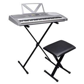 vidaXL Elektronisk Keyboard med 61 tangenter og Musikkstativ + Krakk