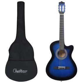 vidaXL Western akustisk gitarsett 12 deler med 6 strenger blå 38