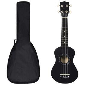 vidaXL Sopran-ukulele sett med veske for barn svart 21