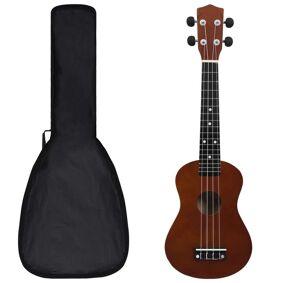 vidaXL Sopran-ukulele sett med veske for barn mørkt tre 23