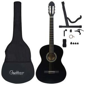 """vidaXL Klassisk gitar nybegynnersett 12 deler 4/4 39"""" svart"""