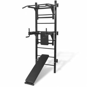 vidaXL Veggmontert multifunksjonelt treningstårn svart