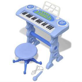 vidaXL Barnekeyboard med krakk/mikrofon 37 tangenter blå