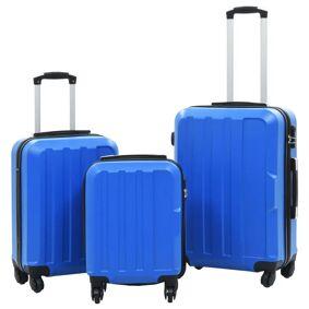 vidaXL Hardplast trillekoffert sett 3 stk blå ABS