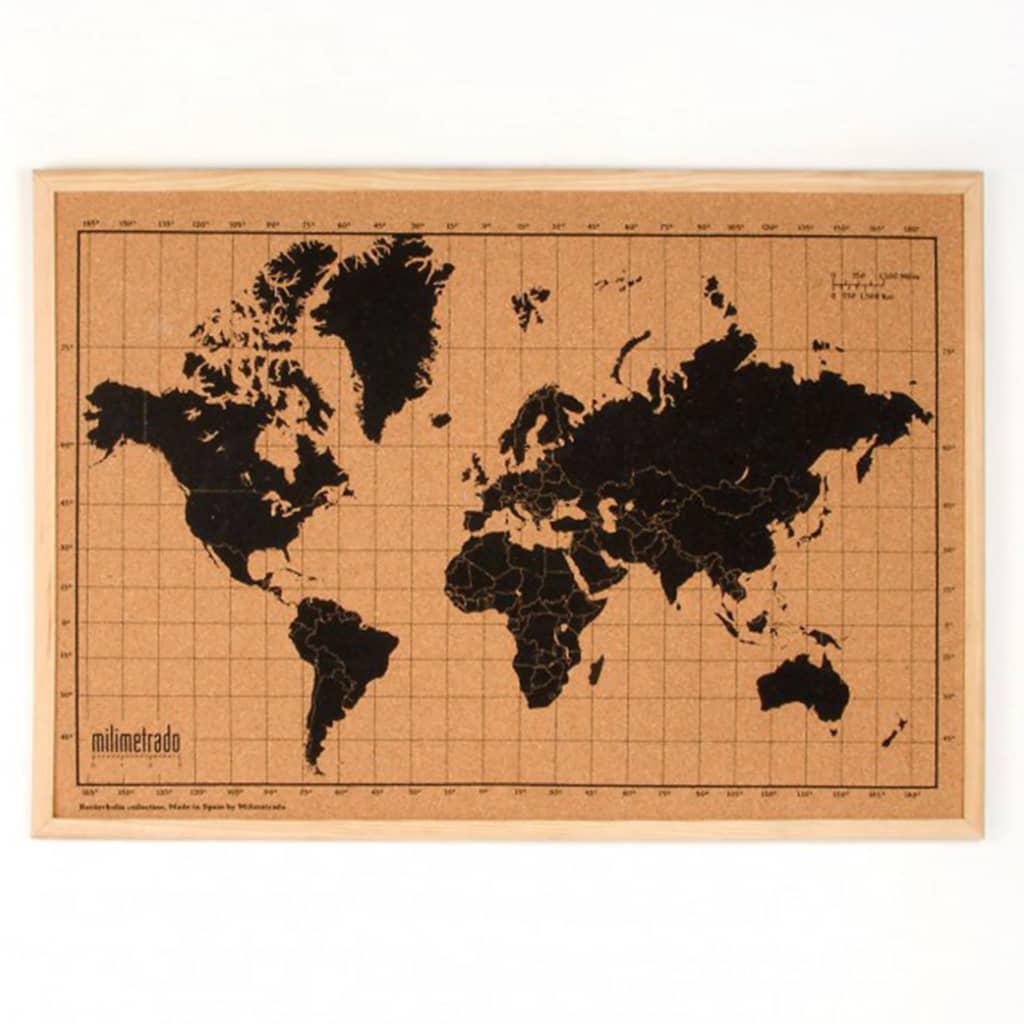 milimetrado Verdenskart korktavle med treramme svart og brun 70x50 cm