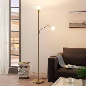 Lindby LED-uplight Jost med leselampe, matt messing