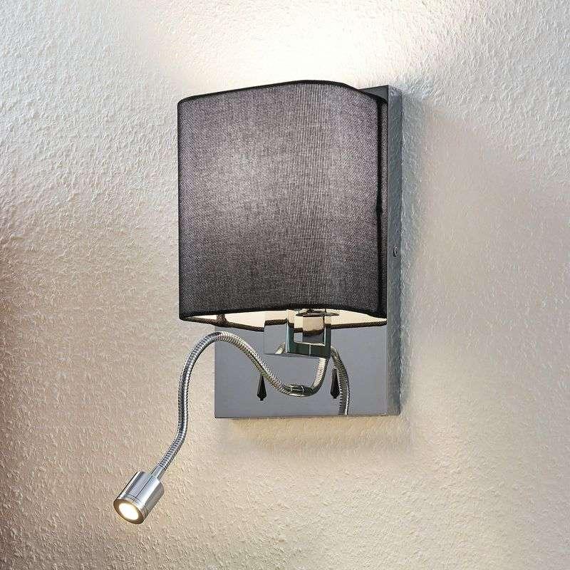 Lampenwelt.com Tekstilvegglampe Eleanor, LED-fleksarm