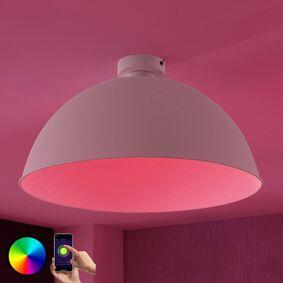 Lampenwelt.com Lindby Smart LED-taklampe Bowl 51cm sølv