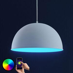 Lampenwelt.com Lindby Smart LED-pendellampe Bowl 41cm hvit