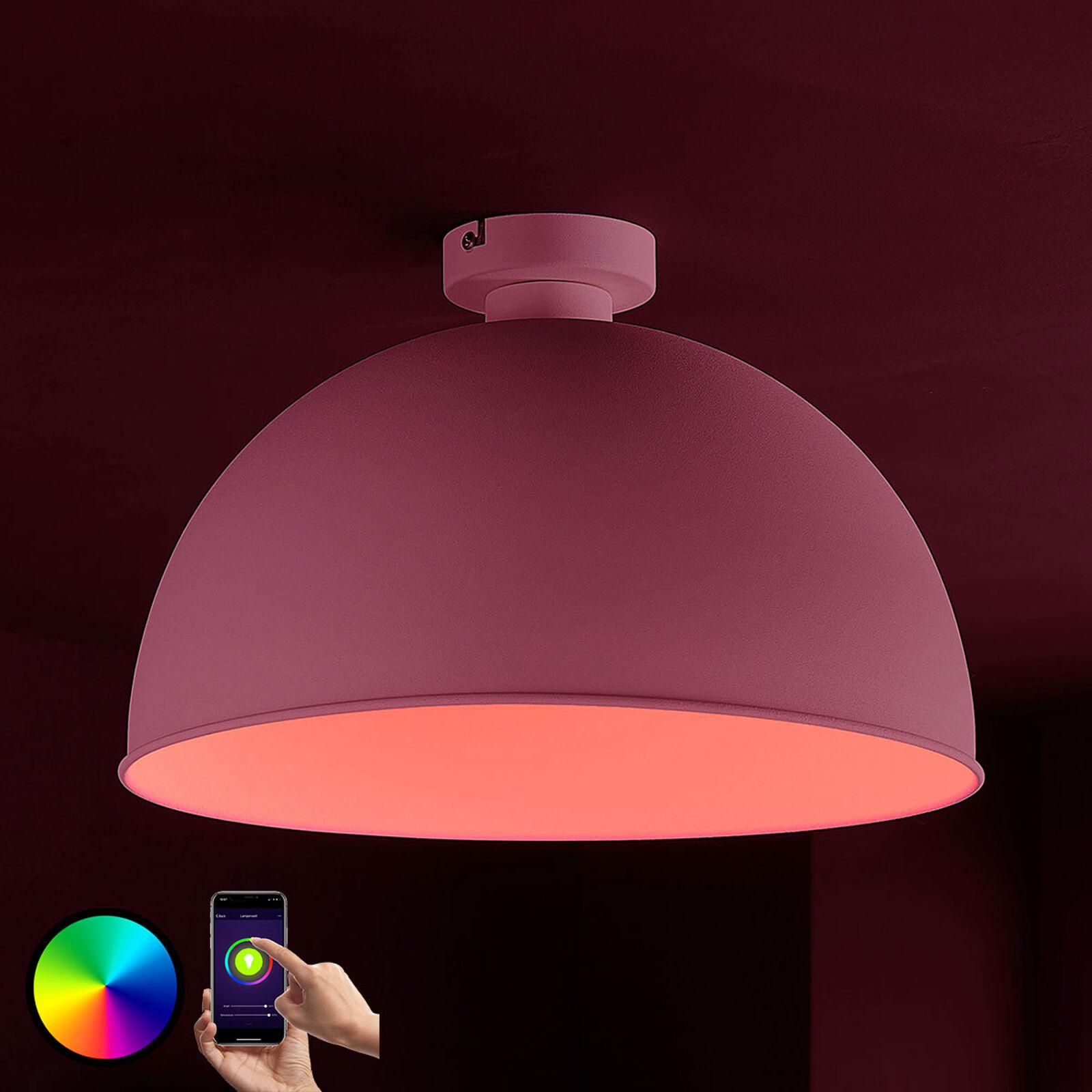 Lampenwelt.com Lindby Smart LED-taklampe Bowl 41cm sølv