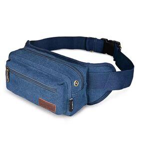 Simu Canvas Belt Bag Til Rejse Eller Sport - Blå (Maks Mobil: 170 X 90 X 10 Mm)