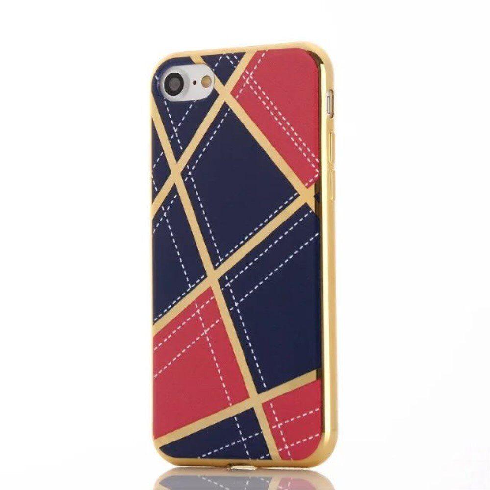 Apple iPhone 8 / 7 / SE (2020) Geometrisk Plastikk Deksel - Rosa/Blå