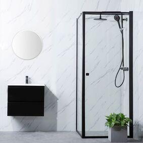 Bathlife Profil Dusjhjørne 90x80 Cm, Sort Profil/klarglass