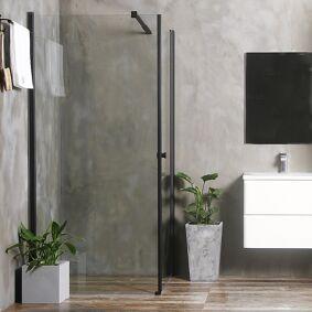 Bathlife Allsidig Dusjhjørne 90x80 Cm, Sort Profil/klarglass