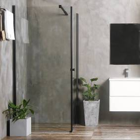 Bathlife Allsidig Dusjhjørne 100x80 Cm, Sort Profil/klarglass