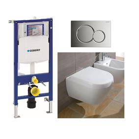 Villeroy & Boch V&b Subway 2.0 Toalettpakke Inkl. Sete/lokk, Sist/trykkplate, M/c+