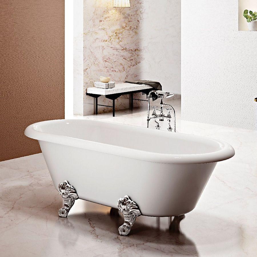 Bathlife Has Frittstående Badekar 1690x740 mm, Akryl, Hvit/Krom