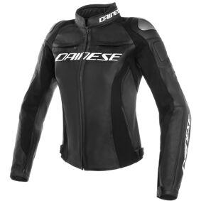 Dainese Racing 3 Perforert damer motorsykkel skinnjakke 48 Svart