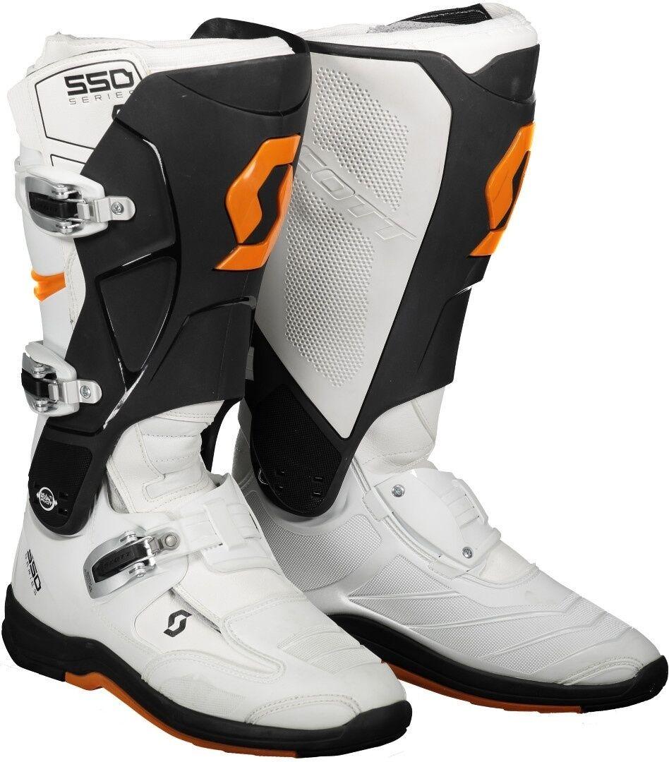 Scott 550 Motocross støvler Hvit Oransje 47