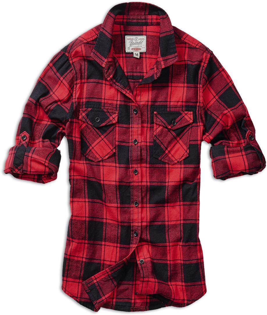 Brandit Amy Flanell Women´s skjorte Svart Rød 4XL