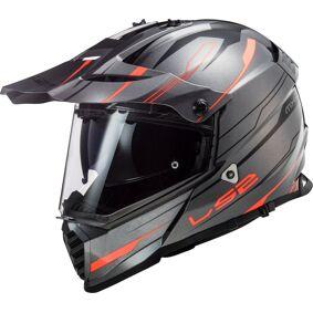 LS2 MX436 Pioneer Evo Knight Motocross hjelm L Grå Oransje