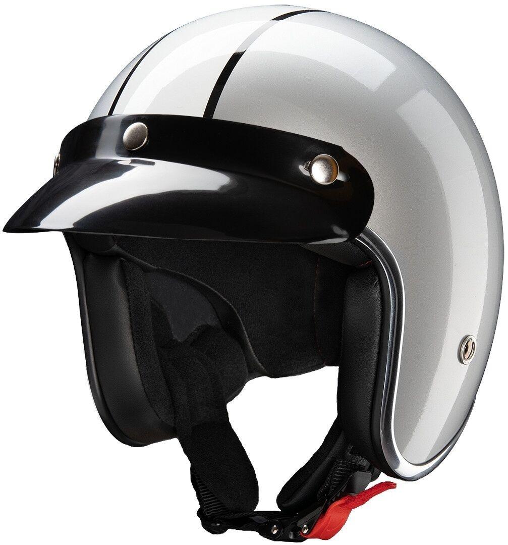 Redbike RB-755 Indiana Jet hjelm XL Svart Hvit Sølv