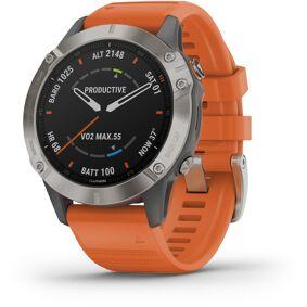 Garmin Fenix 6 Sapphire Titanium Multisport GPS Smartwatch grey/silver/orange Wristband  2020 Pulsbånd & Pulsklokker