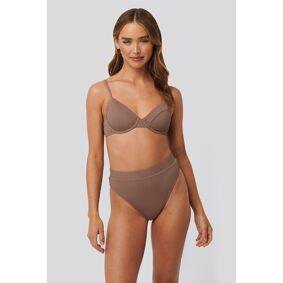 NA-KD Swimwear Structured Edge Maxi Highwaist Panty - Brown