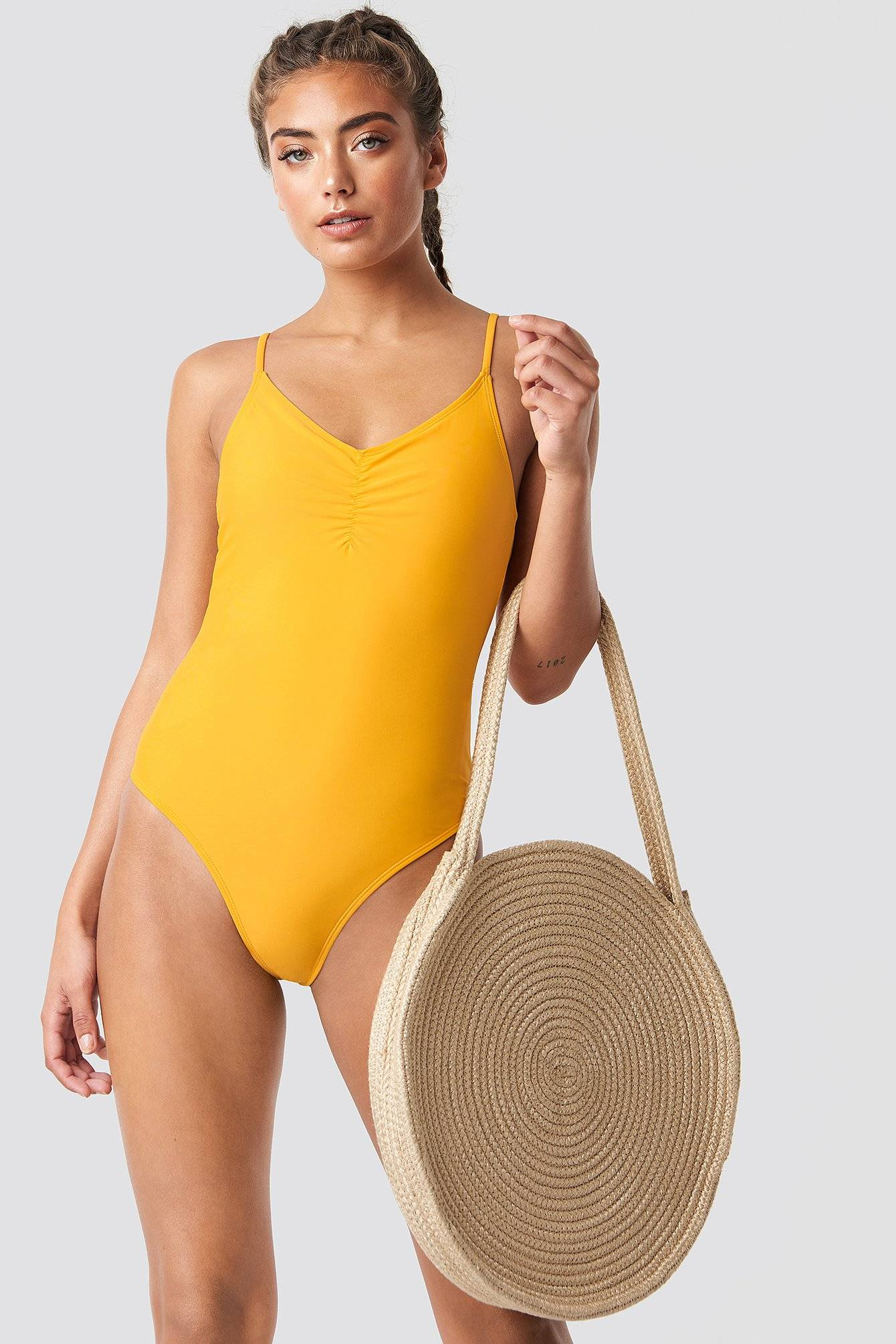 NA-KD Swimwear Basic Front Ruched Swimsuit - Yellow