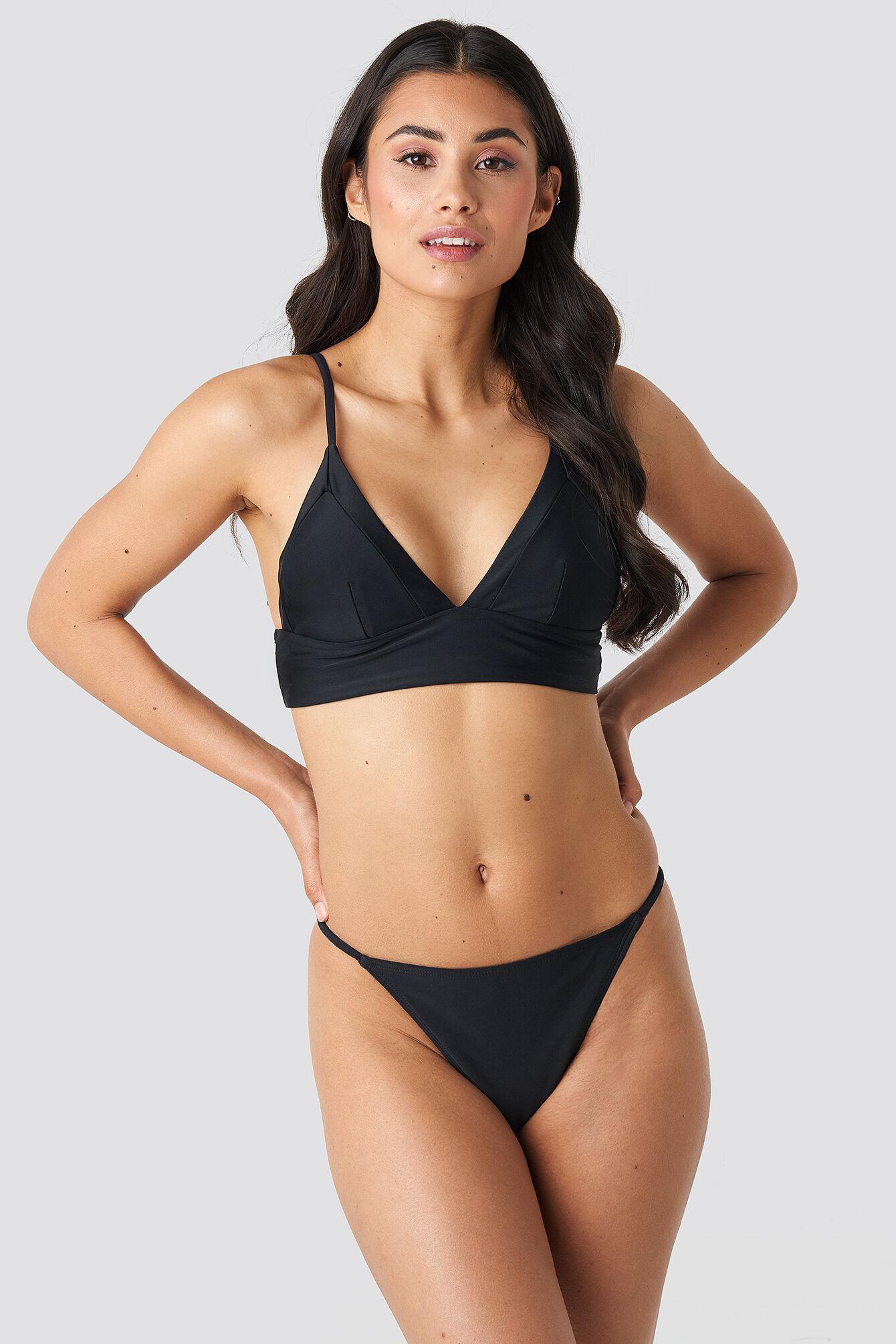 NA-KD Swimwear High Leg Thin Strap Bikini Briefs - Black