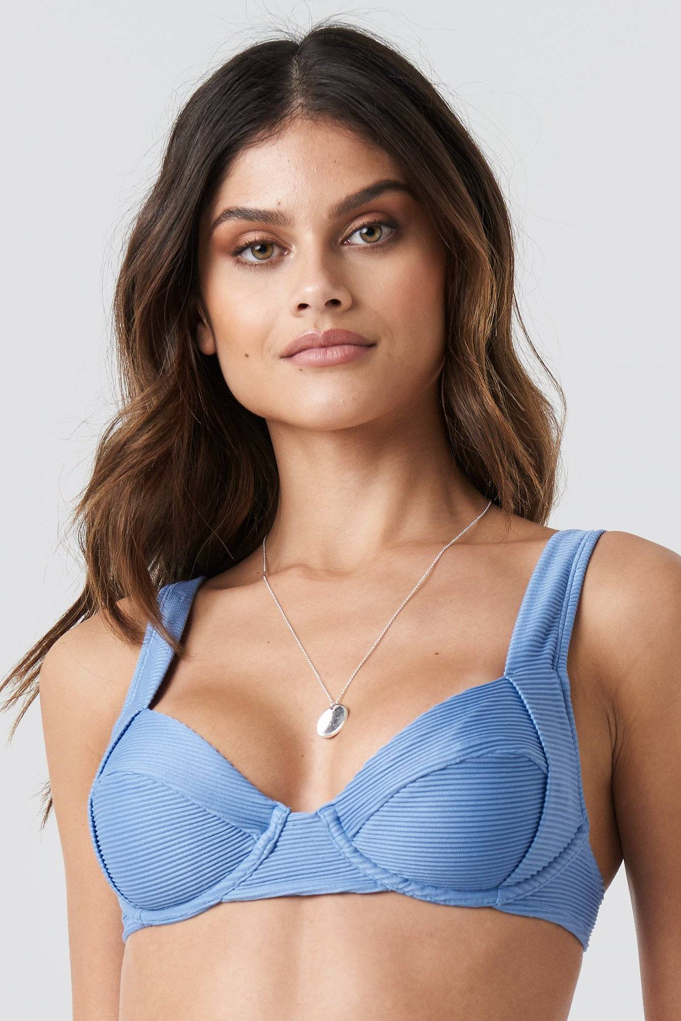 NA-KD Swimwear Ribbed Bikini Cup bra - Blue