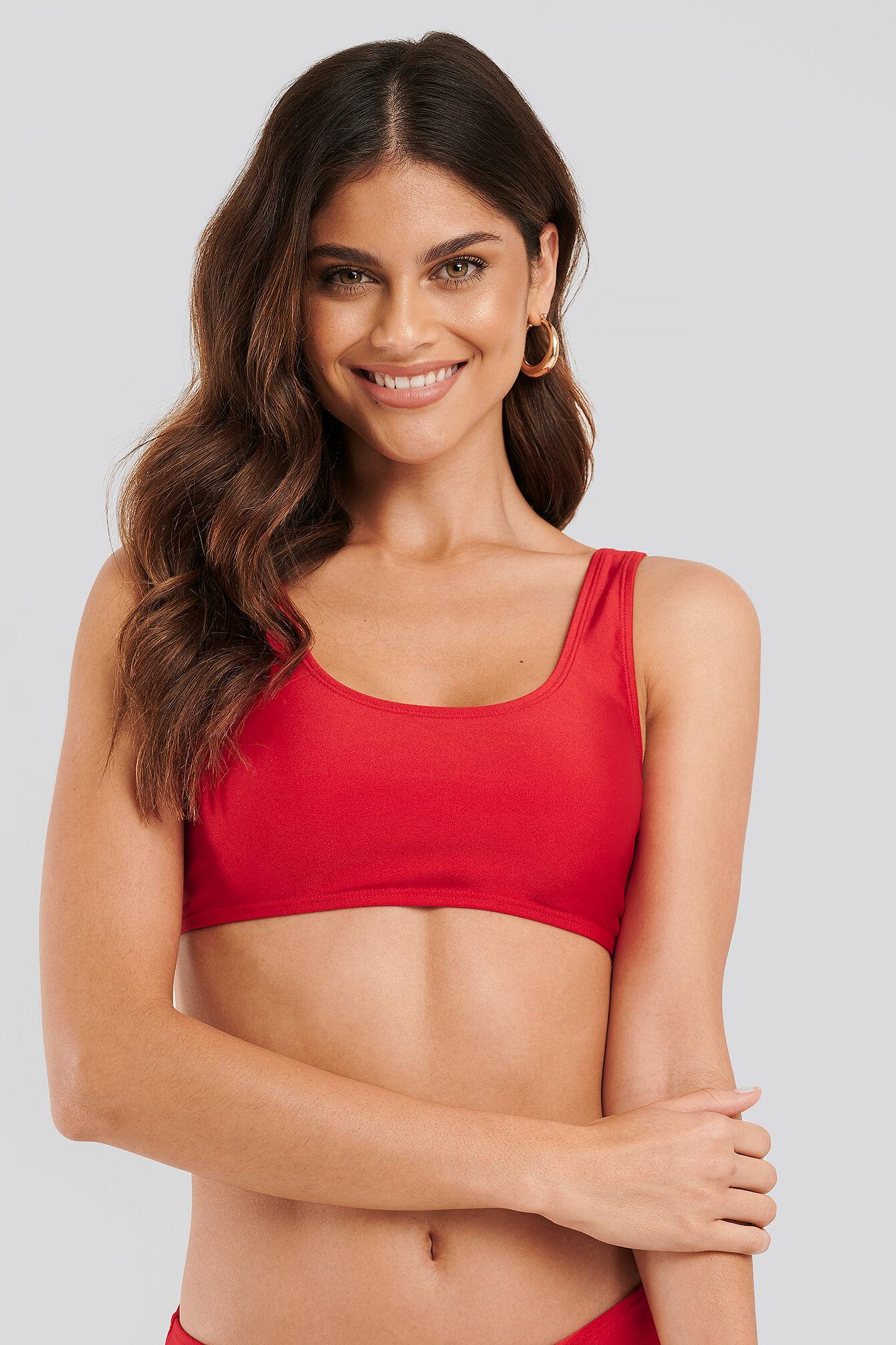 NA-KD Swimwear Sporty Bikini Top - Red