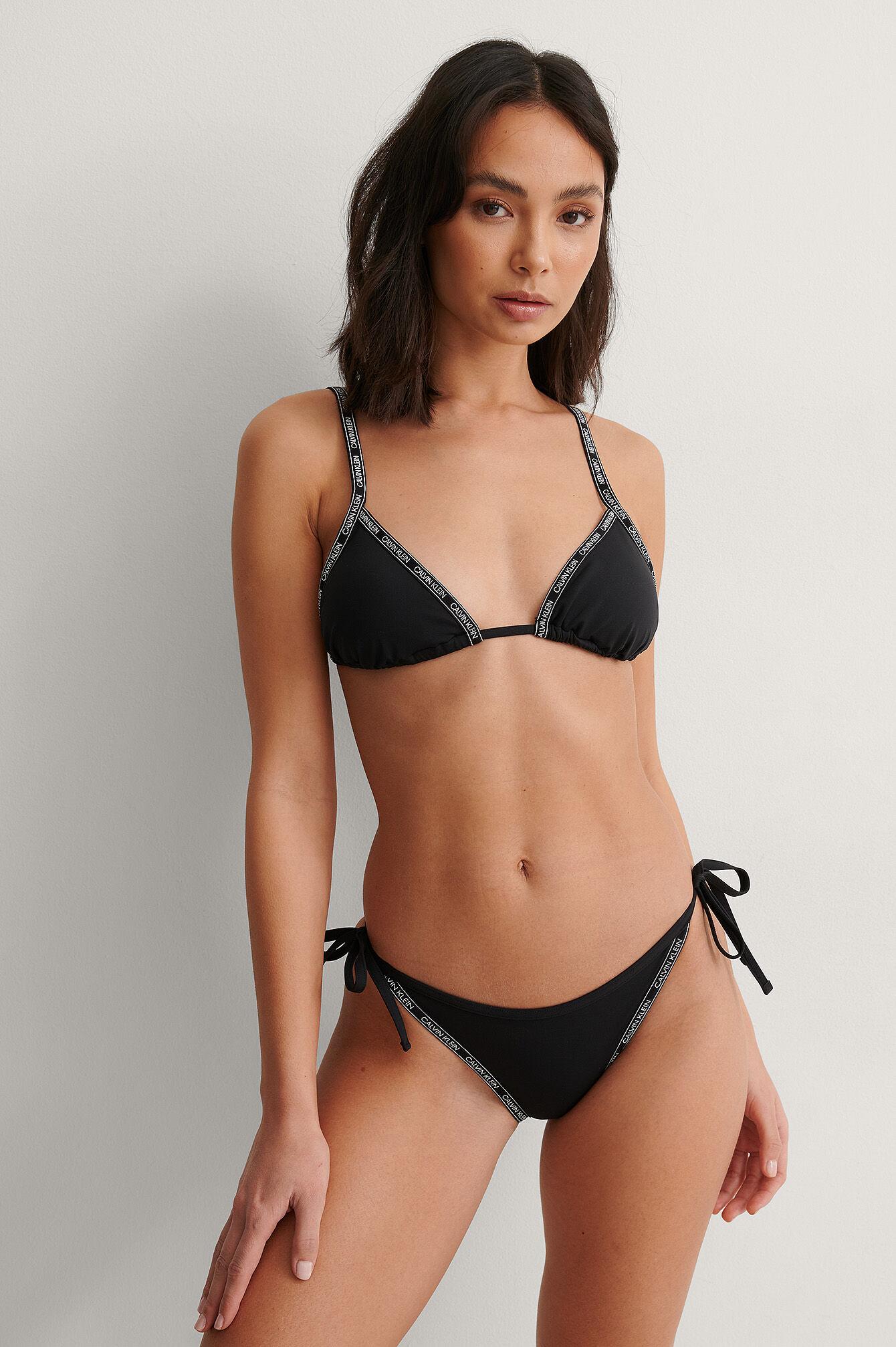 Calvin Bikinistringtruse Med Knytting På Siden - Black