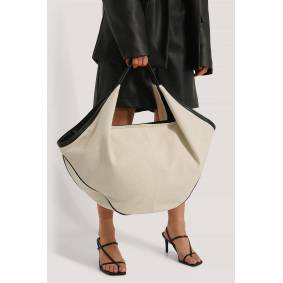NA-KD Accessories Canvas Contrast Shopper Bag - Offwhite