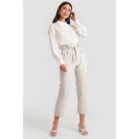 NA-KD Straight Tied Waist Pants - Grey