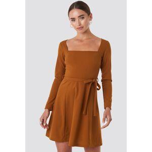 NA-KD Trend Tied Waist Square Neck Mini Dress - Brown
