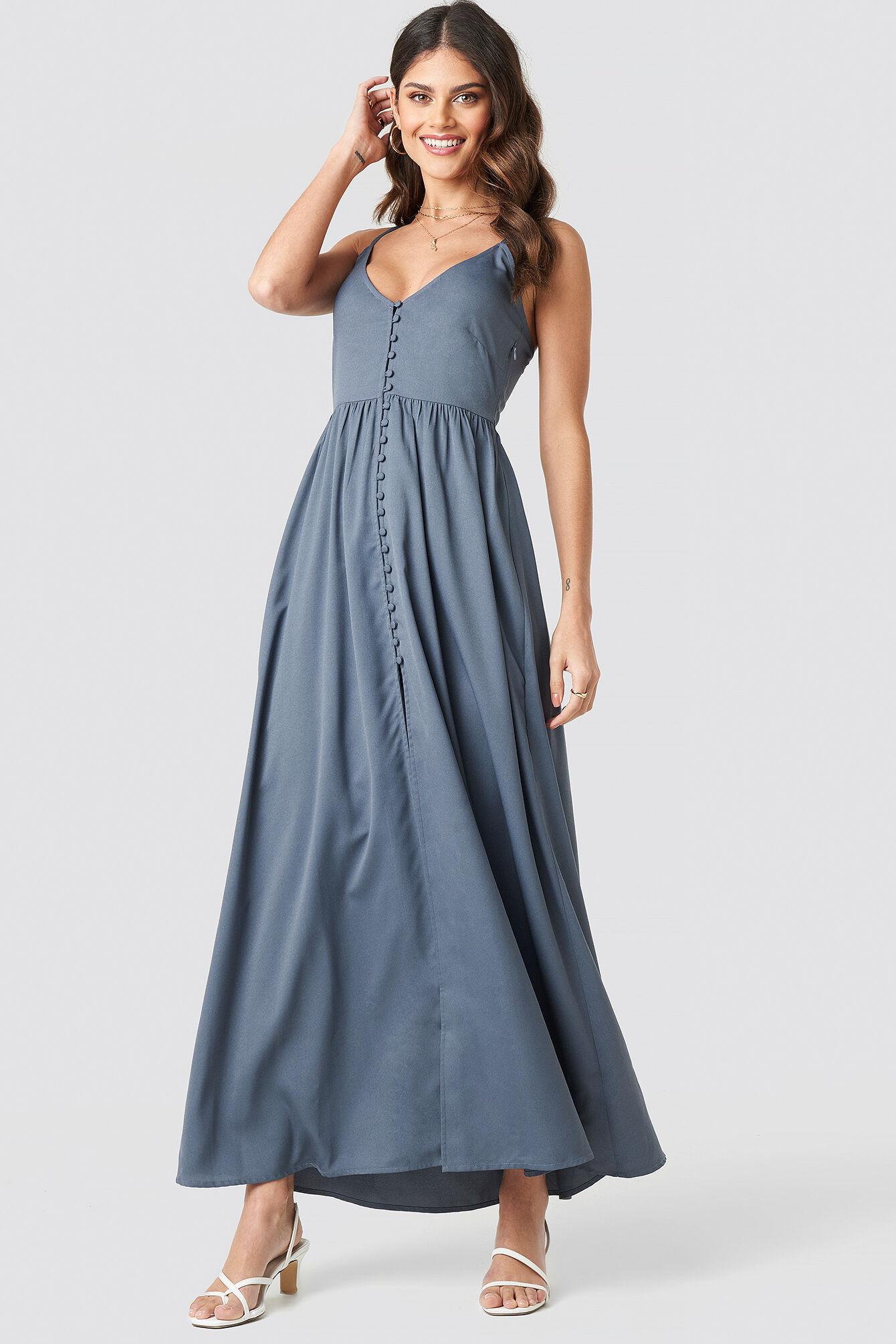 NA-KD Party Button Up V-Neck Dress - Grey