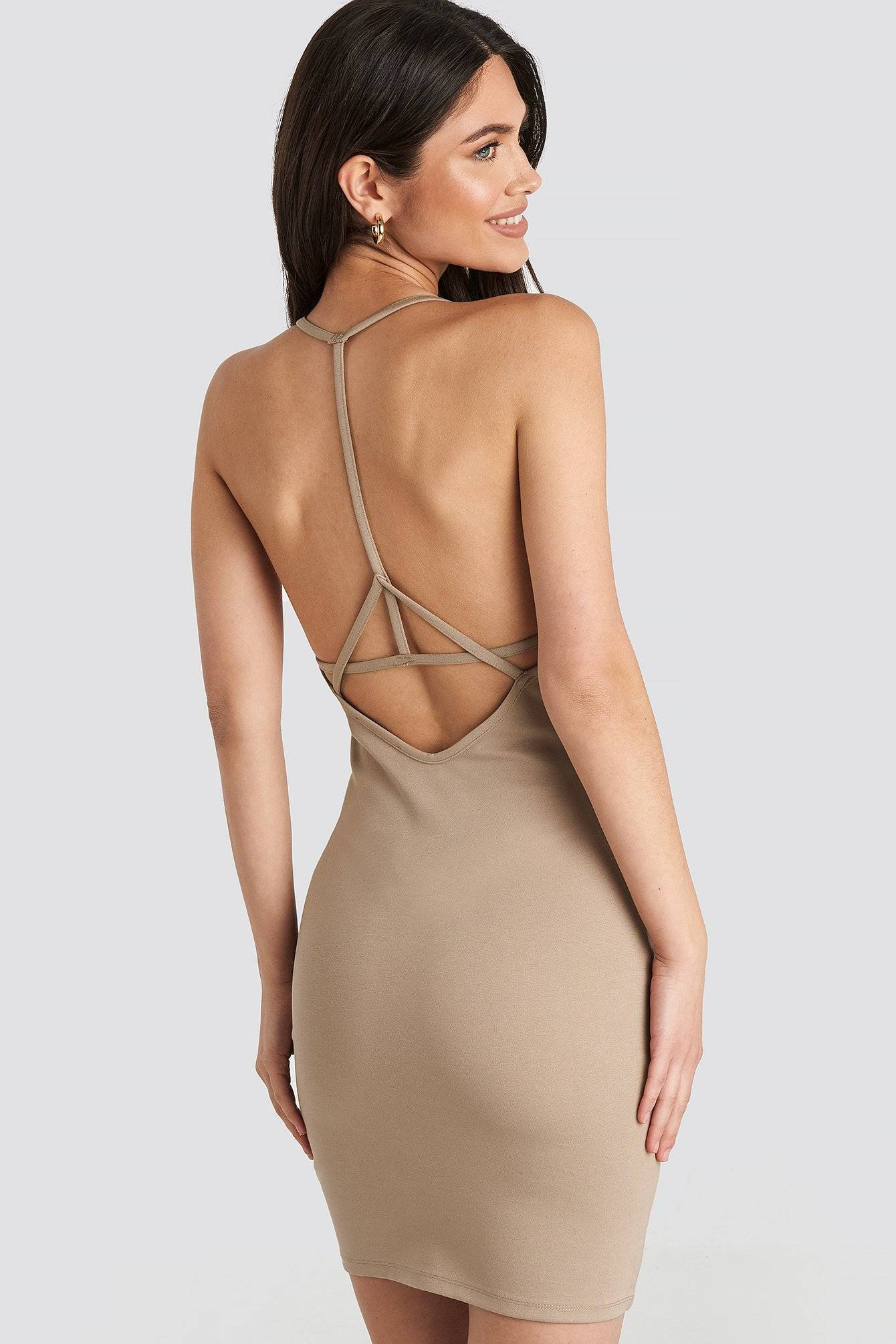 NA-KD Party Deep Cross Back Dress - Beige