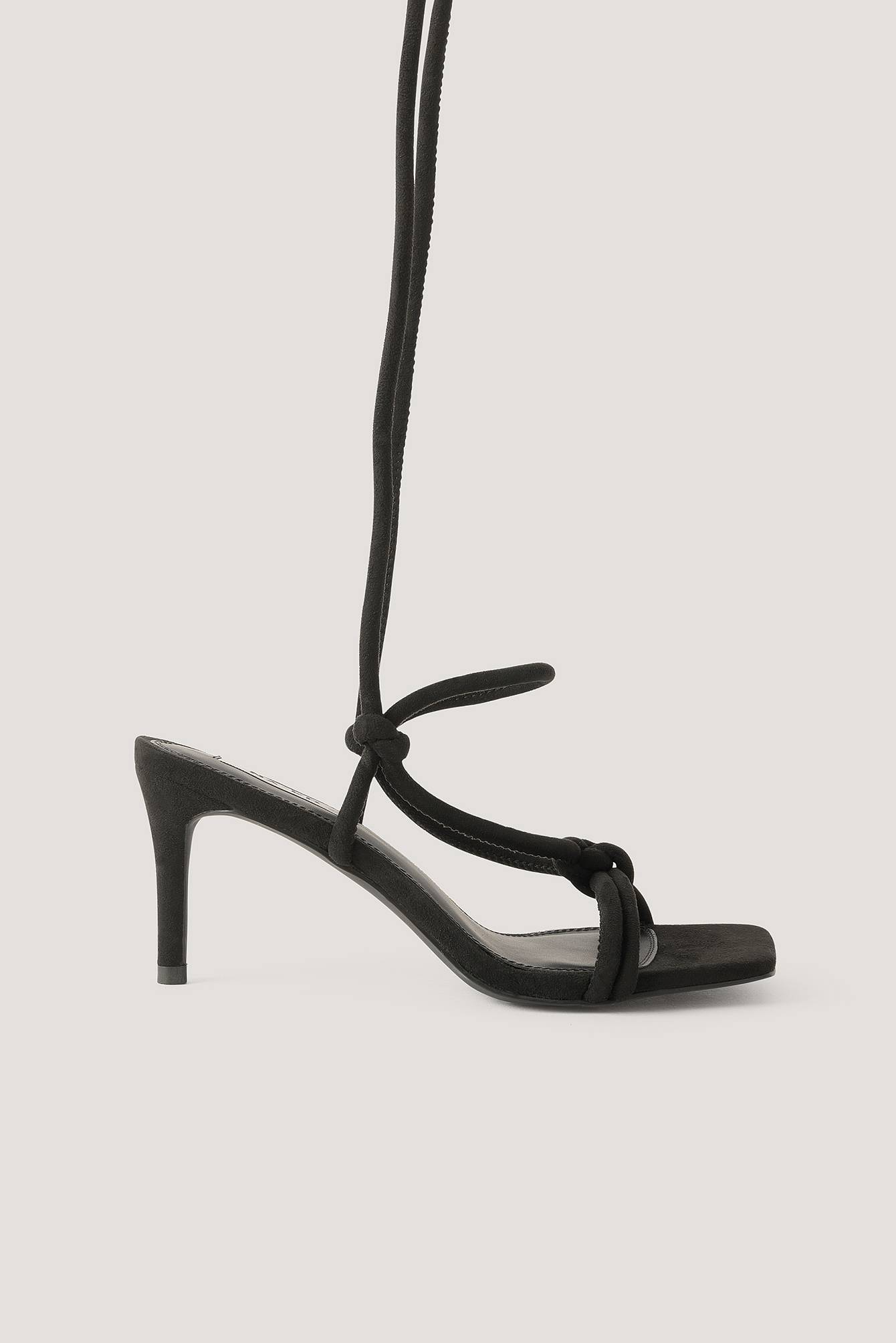 NA-KD Shoes Knotted Straps Heeled Sandals - Black