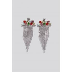NA-KD Accessories Multi Color Hanging Strass Earrings - Multicolor