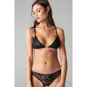 NA-KD Lingerie Striped Elastic Lace Panty - Black
