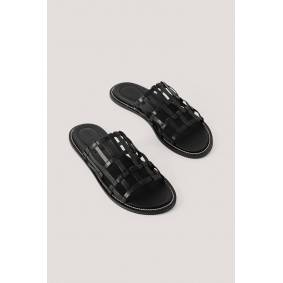 NA-KD Shoes Leather Cage Slippers - Black