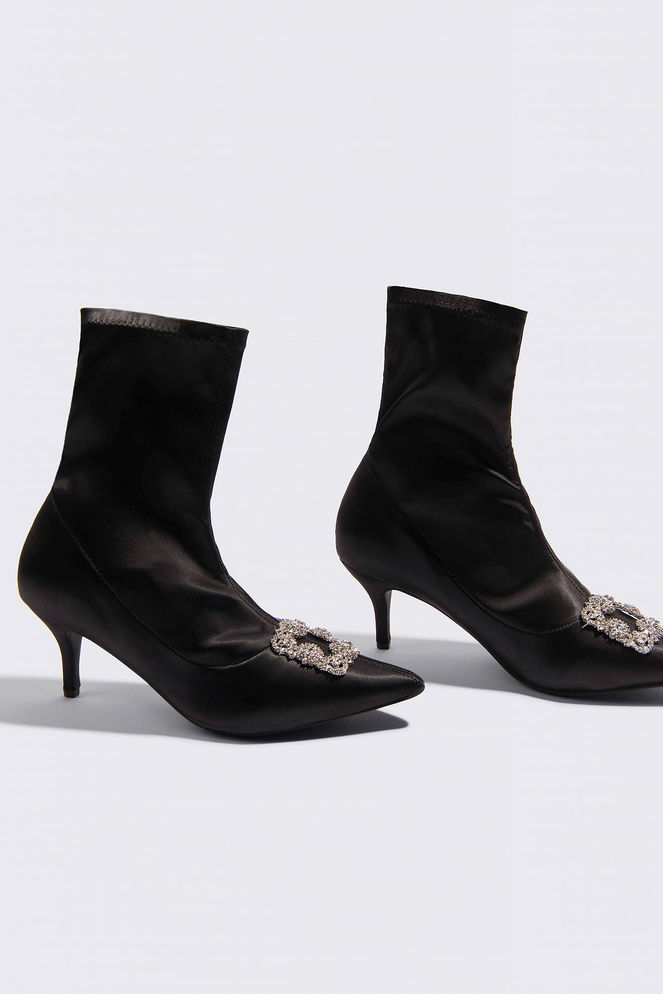 NA-KD Shoes Embellished Satin Sock Boots - Black