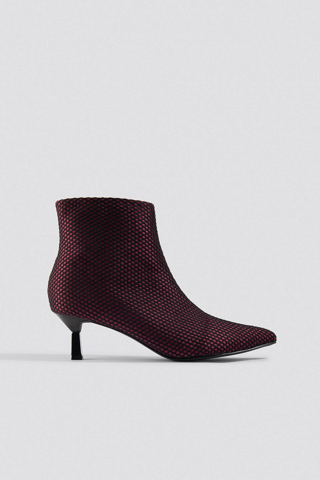 NA-KD Shoes Net Kitten Heel Boots - Red