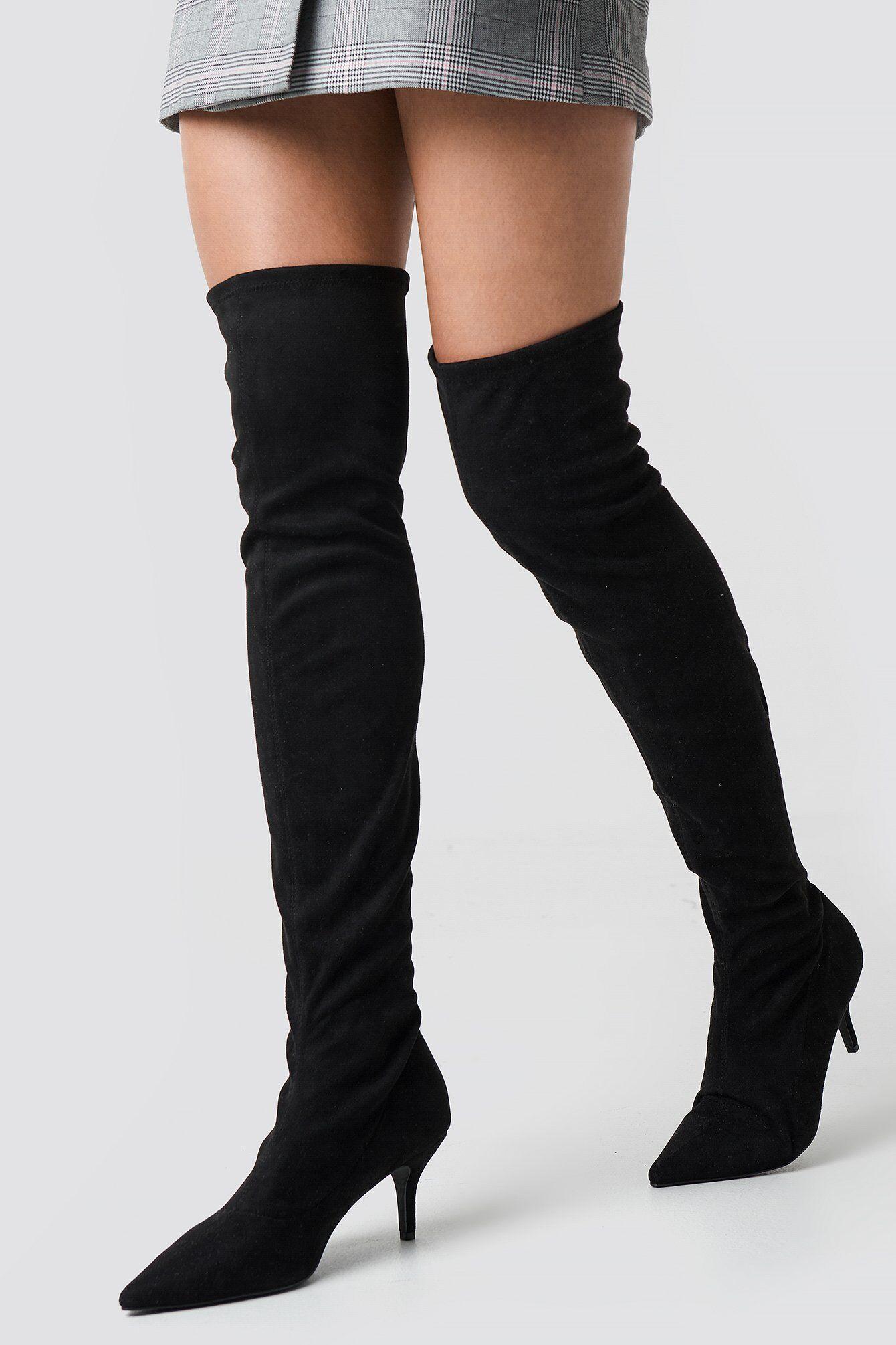 NA-KD Shoes Overknee Kitten Heel Boots - Black