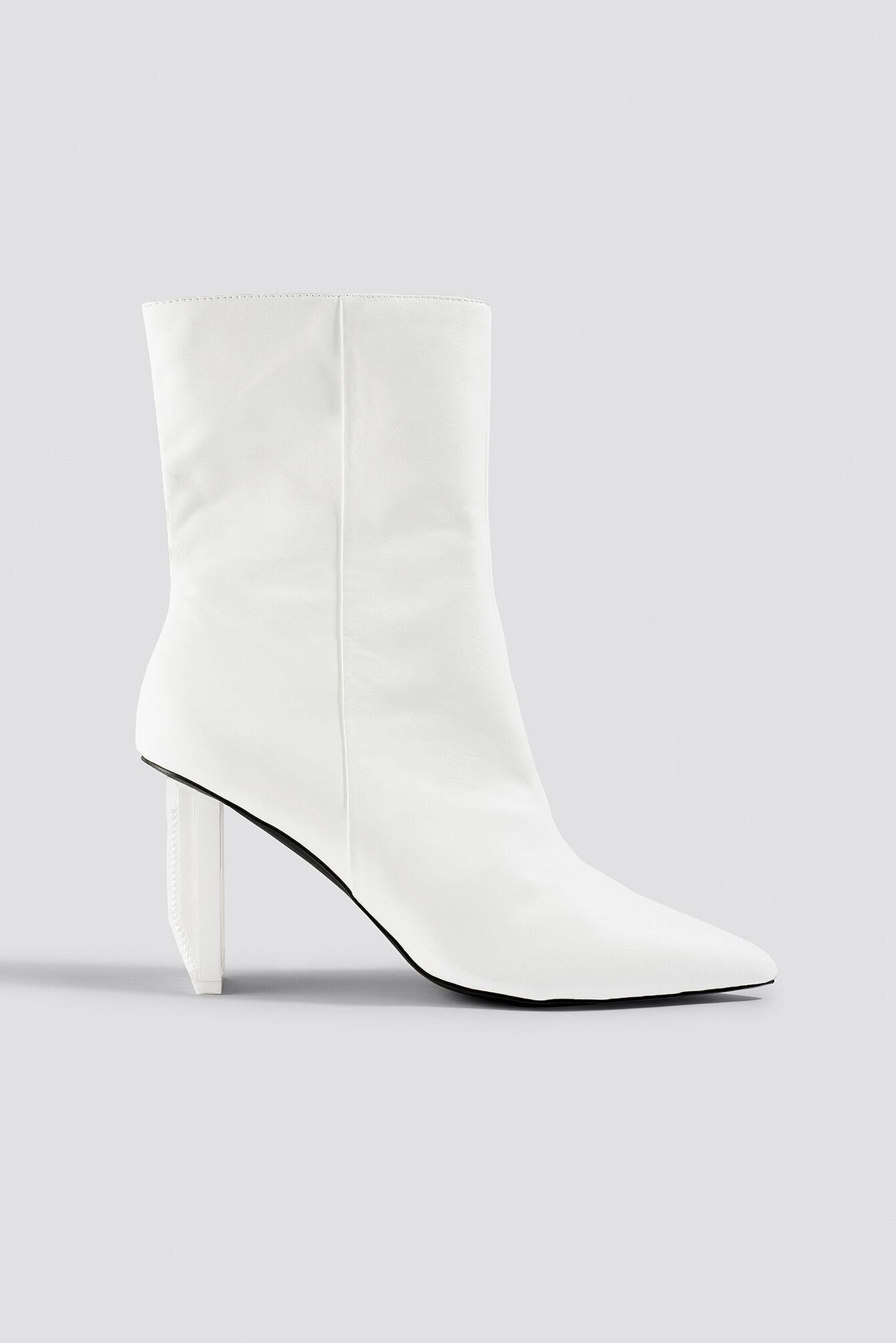 Sahara Ray x NA-KD Asymmetric Heel Boots - White