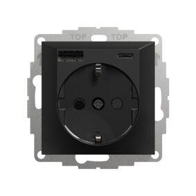 Elko Plus USB A+C Lader & Enkel Stikkontakt Sort