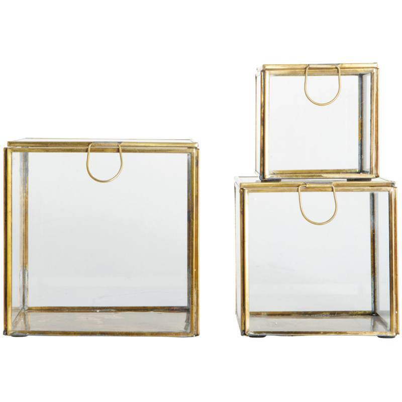 House Doctor Storage Boxes Set Of 3 Sizes Brass
